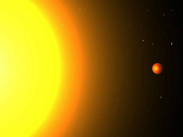 Планета Кеплер 78b и её родительская звезда в представлении художника (иллюстрация Cristina Sanchis Ojeda).