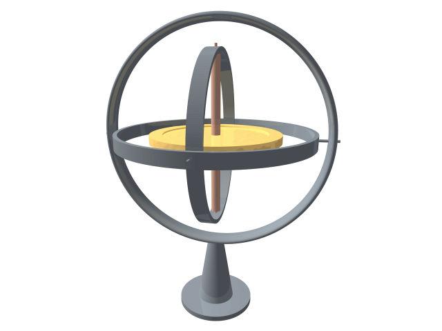 Cфера вела себя как микроскопический гироскоп, стабилизирующий движение вокруг оси вращения (иллюстрация Wikimedia Commons).
