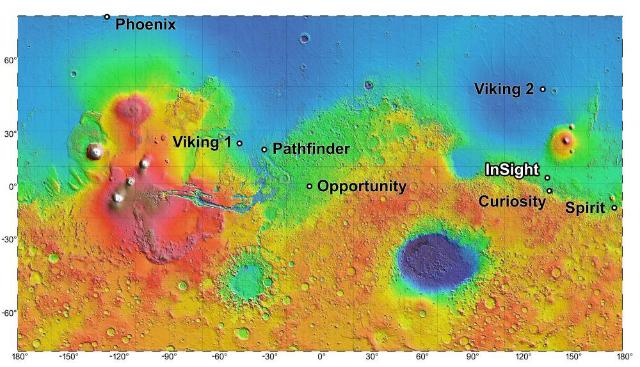 Карта высот Марса с отметками спускаемых аппаратов (иллюстрация NASA/JPL-Caltech).