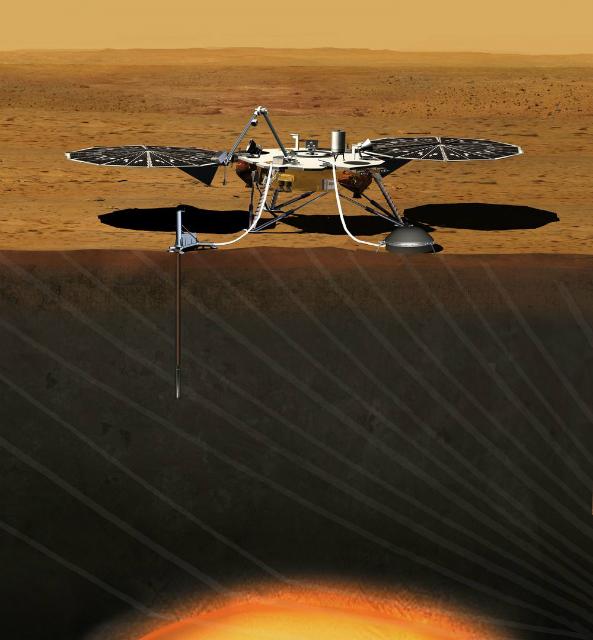 Художественное изображение будущей работы зонда InSight на поверхности Марса (иллюстрация JPL/NASA).