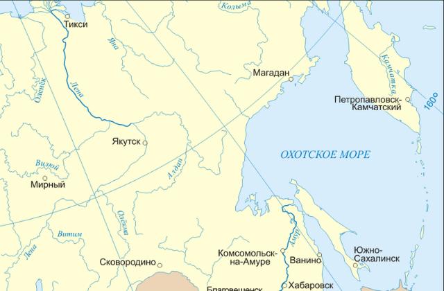 На карте указано местоположение Охотского моря. Оно омывает берега России и Японии (иллюстрация Rubinbot/Wikimedia commons).