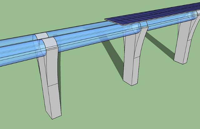 Эстакада с трубопроводом Hyperloop в представлении художника (иллюстрация Edit1306/Wikimedia Commons).