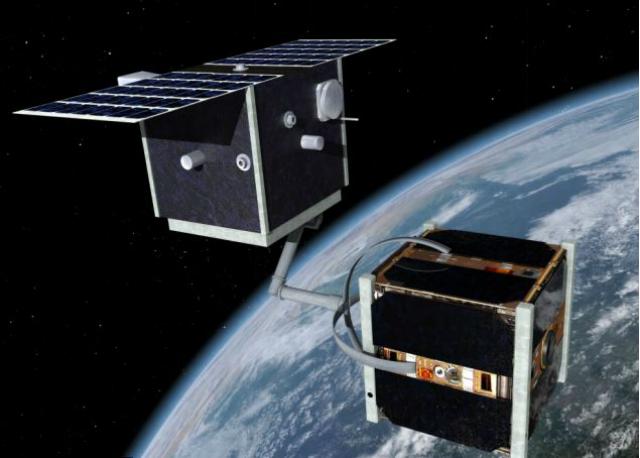Миссия CleanSpace One заключается в том, что спутник должен захватить кусок космического мусора с помощью манипуляторов и сбросить его в атмосферу, где он и сгорит (иллюстрация ESA/Rex Features).