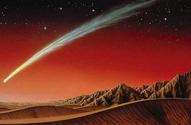 Яркая комета над Марсом в представлении художника (иллюстрация Kim Poor).
