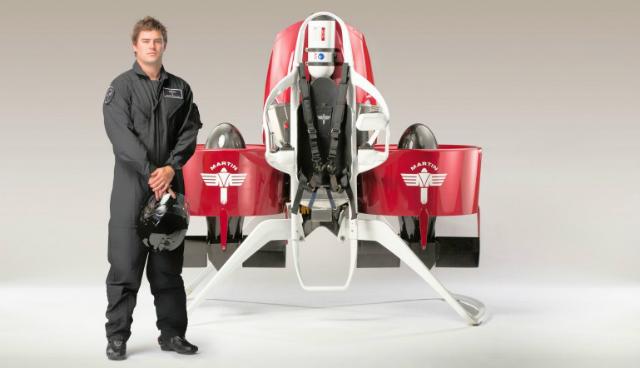 Прототип Jetpack P12. Максимальная скорость, которую может развить Jetpack P12, составляет 74 км/ч. Полностью заправленный бак поможет продержаться в воздухе в течение 30 минут (фото Martin Aircraft).