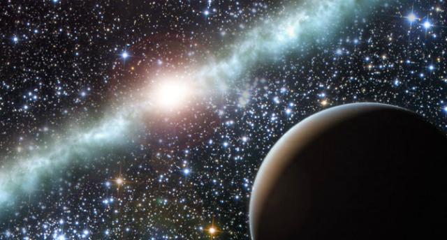 Массивная экзопланета внутри галактического центра Млечного Пути в представлении художника (иллюстрация ESO/L Calcada, NASA).