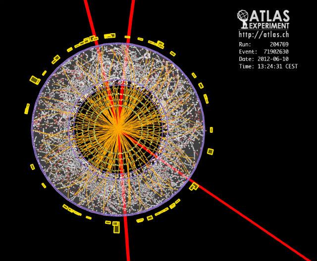 Детектор ATLAS зафиксировал появление четырёх мюонов при распаде коротко живущего бозона Хиггса (иллюстрация CERN).