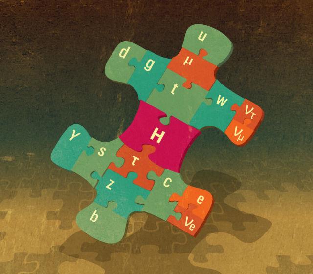 """Бозон Хиггса стал последним """"кирпичиком"""" Стандартной модели (иллюстрация из пресс-релиза Нобелевского комитета)."""