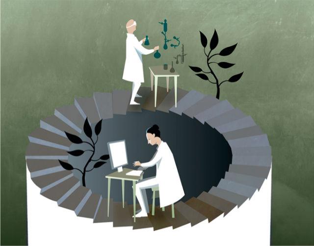 Химики-теоретики и химики-экспериментаторы ходят по бесконечной лестнице исследований реакций (иллюстрация Nobel Media AB 2013 Illustration: Niklas Elmehed).