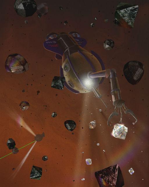 """Иллюстрация к научно-фантастической книге """"Инопланетные моря"""": робот собирает алмазы на Сатурне (фото Springer 2013)."""