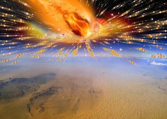 28 миллионов лет назад над поверхностью северо-восточной Африки взорвалась комета (иллюстрация Terry Bakker).