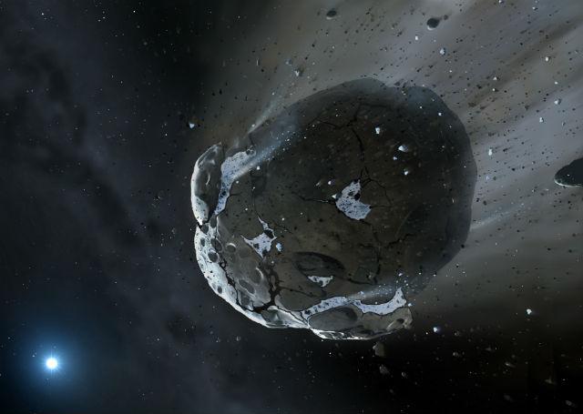 Смерть богатого водой астероида в представлении художника (иллюстрация Mark A. Garlick).