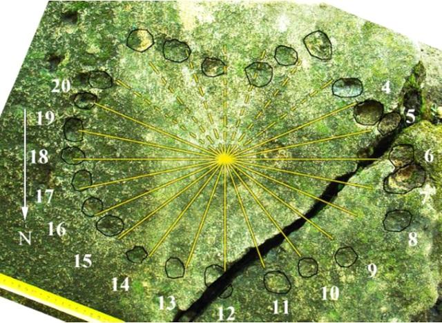 4.Часовые линии аналемматических солнечных часов; цифрами обозначены часы, соответствующие часовым линиям и меткам (фото Лариса Водолажская).
