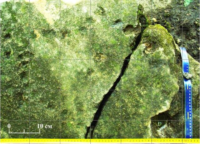 Скорректированная фотография плиты из Таврии с лунками, расположенными по эллипсу (фрагмент) (фото Лариса Водолажская).