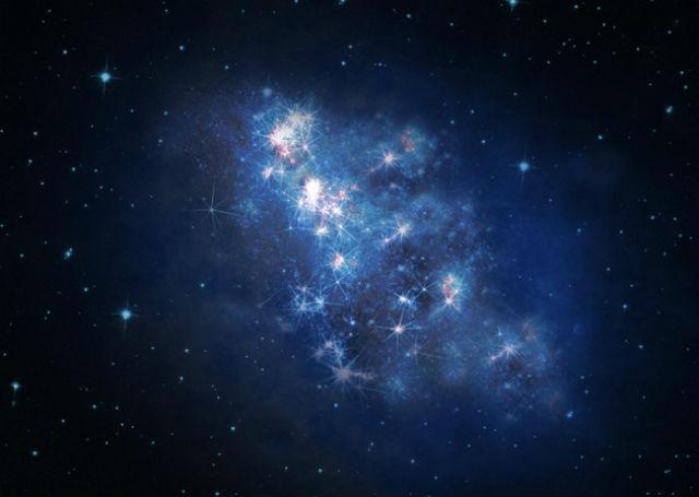 Галактика z8_GND_5296 в представлении художника (иллюстрация V. Tilvi, S.L. Finkelstein, C. Papovich, NASA, ESA, A. Aloisi, The Hubble Heritage, HST, STScI, AURA).