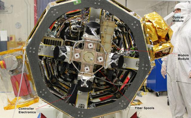 Система LLCD интегрированная в зонд LADEE (фото NASA).
