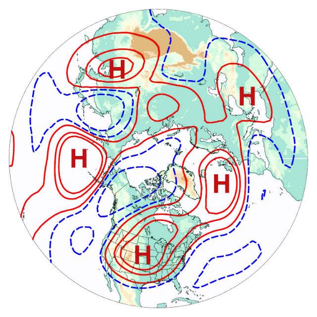 """Карта циркуляции атмосферного воздуха показывает зоны низкого и высокого давления. Учёные назвали это системой """"волнового числа 5"""" — по количеству таких зон (иллюстрация Haiyan Teng)."""