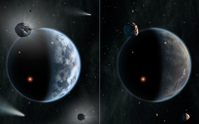 Судьба двух разных планет в представлении художника. Та, что слева, похожа на Землю и состоит в основном из силикатных пород и океанов. Та, что справа, богата углеродом и суха. Скорее всего, жизнь, какой мы её знаем, требует жидкой воды, так что в таких условиях она невозможна (иллюстрация NASA/JPL-Caltech).