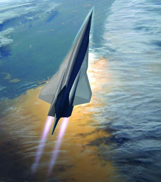 Инженеры работают над объединением турбины со сверхзвуковым прямоточным бескомпрессорным воздушно-реактивным двигателем, чтобы самолёт мог сразу разгоняться до скорости в 6 Махов (иллюстрация Lockheed Martin).