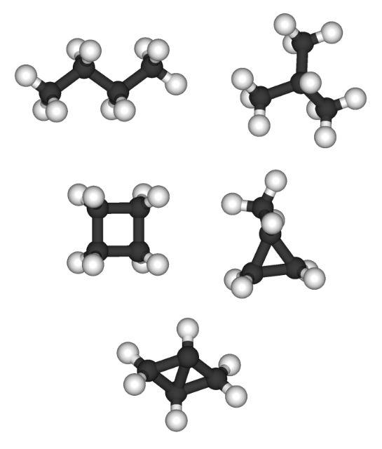 Алканы представляют собой ациклические углеводороды  с линейной или разветвлённой структурой (иллюстрация Wikimedia Commons).