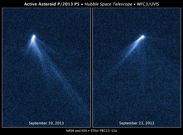 """Астероид, получивший кодовое название P/2013 P5, – единственный из известных обладателей шести пылевых хвостов. Он был обнаружен на снимках """"Хаббла"""" 10 сентября 2013 года. Когда телескоп вновь обратился к астероиду 23 сентября, его вид почти полностью изменился (фото NASA, ESA, D. Jewitt/CLA)."""