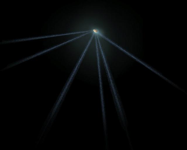 Шестихвостый астероид в представлении художника (иллюстрация NASA, ESA, A. Field/STScI).