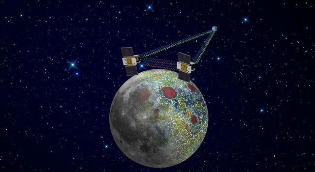 Спутники-близнецы занимались изучением гравитационного поля и внутреннего строения Луны (иллюстрация NASA/JPL-Caltech).