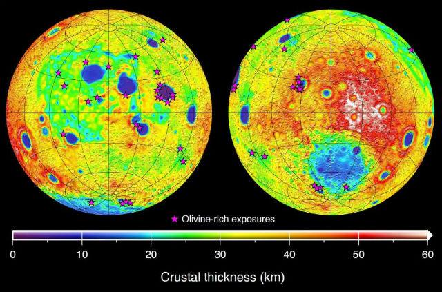 На карте показаны изменения толщины лунной коры. Слева изображена видимая сторона Луны, справа — тёмная сторона (иллюстрация NASA/JPL-Caltech).