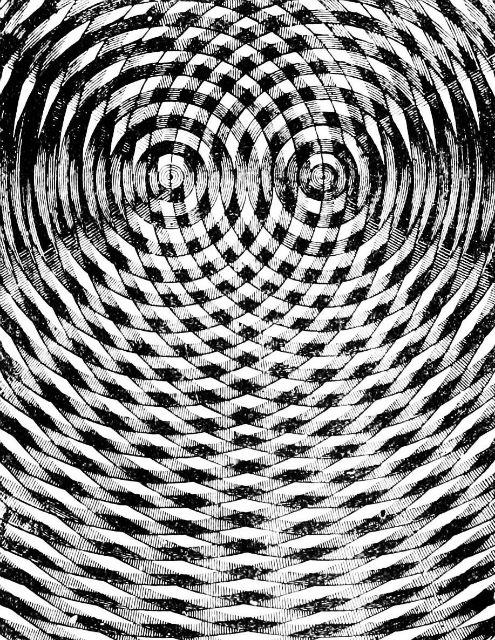 Суперпозиция двух волновых систем (иллюстрация Wikimedia Commons).