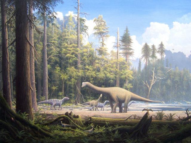Динозавры вдыхали воздух, концентрация кислорода в котором составляла всего 10-15% (иллюстрация Gerhard Boeggemann /Wikimedia Commons).