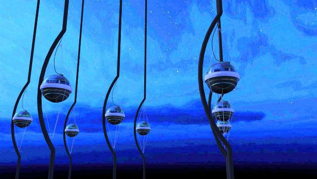 Нити с фотоумножителями детектора IceCube в представлении художника (иллюстрация Jamie Yang, The IceCube Collaboration).