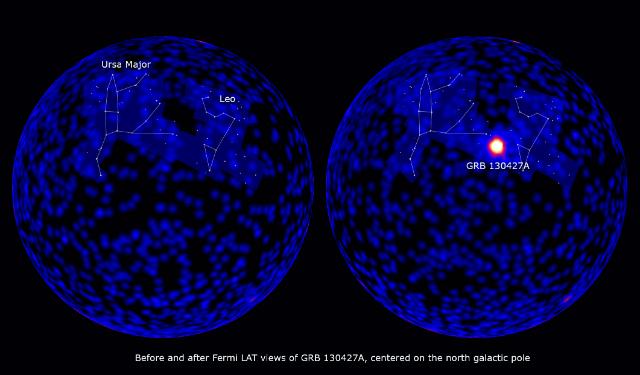 Небосклон до и после излучения, энергия которого превысила 100 МэВ (иллюстрация NASA/DOE/Fermi LAT Collaboration).