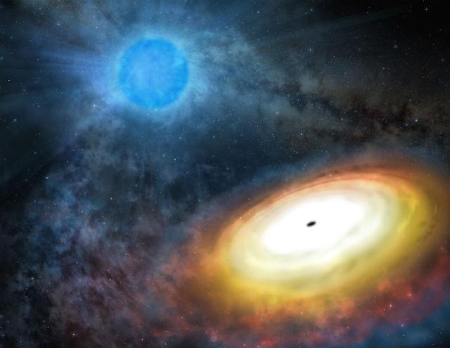 Чёрная дыра M 101 ULX-1 в представлении художника (иллюстрация Gemini Observatory/AURA artwork by Lynette Cook).
