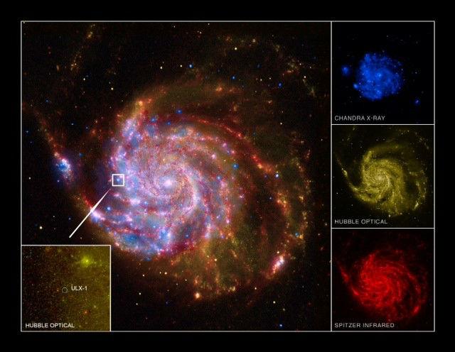 Комбинированный снимок галактики Вертушка в рентгеновском, оптическом и инфракрасном диапазонах (фото Chandra X-ray Observatory, Spitzer Satellite, Hubble Space Telescope, GALEX Satellite).
