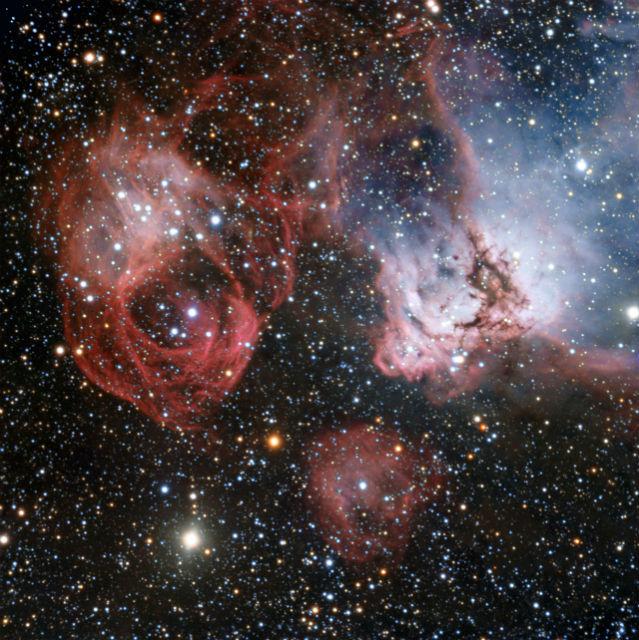 Комбинированный снимок эмиссионной туманности NGC 2035 (фото ESO).