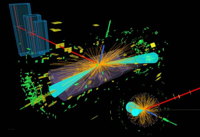 Графическое изображение: в детекторе ATLAS бозон Хиггса распадается на две тау-частицы, которые, в свою очередь, распадаются на электрон (синяя линия) и мюон (красная линия) (иллюстрация ATLAS).