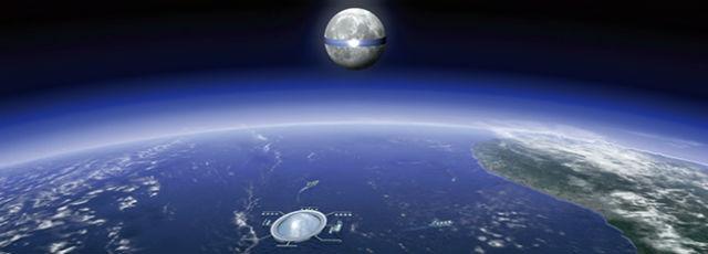 Лучи, посланные с Луны, будут направлены на приёмные станции на Земле (иллюстрация Shimizu Corp.).