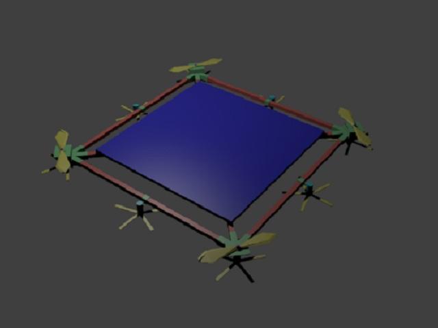 Устройство размером 20х20 метров будет снабжено солнечной батареей, ветрогенерторами и четырьмя винтами для полёта (иллюстрация New wave energy).