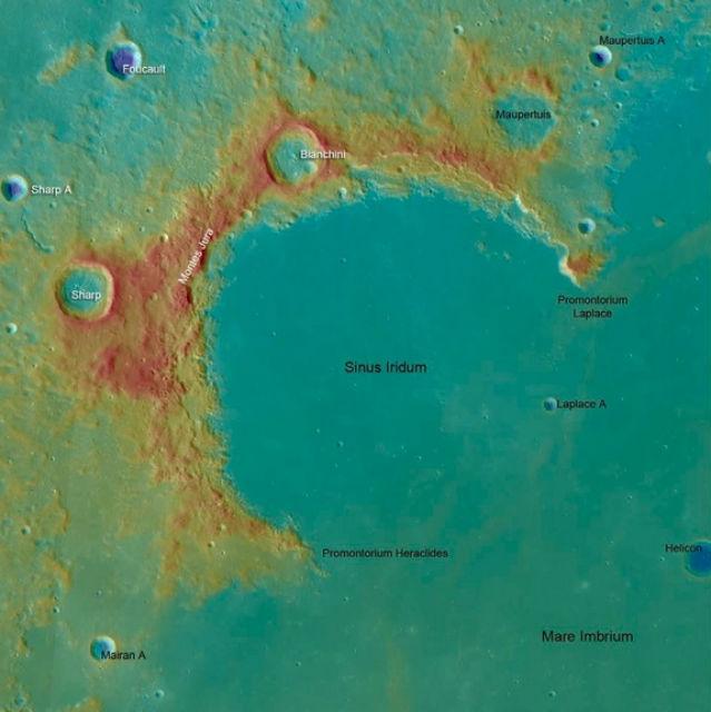 Высадка лунохода произойдёт в Заливе Радуге (иллюстрация NASA/GSFC/ASU).