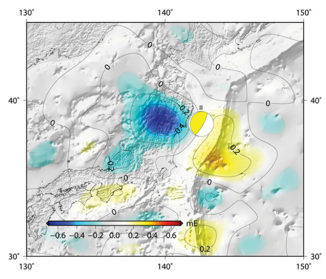 """""""Шрам"""" в гравитационном поле над Японией, оставленный землетрясением 2011 года (иллюстрация DGFI/TU Delft)."""