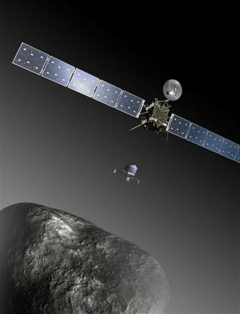 Высадка модуля Philae на поверхность кометы в представлении художника (иллюстрация ESA C.Carreau).