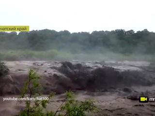 На Камчатке мощный грязевой поток заблокировал дачников. Видео