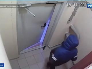 Нетрезвый житель Балашихи выбирался из подъезда несколько часов. Видео