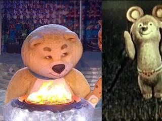 Задув олимпийский огонь, Белый Мишка расплакался
